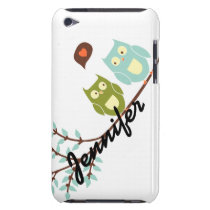 Cute Girly, Green and Blue Owls with Your Name Barely There iPod Cover
