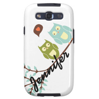 Cute Girly Green and Blue Owls with Your Name Samsung Galaxy S3 Cover