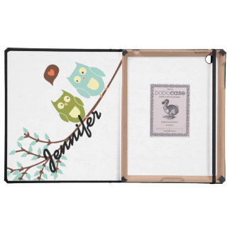 Cute Girly Green and Blue Owls with Your Name Case For iPad