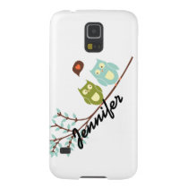 Cute Girly, Green and Blue Owls with Your Name Case For Galaxy S5