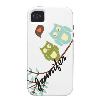 Cute Girly, Green and Blue Owls with Your Name Case-Mate iPhone 4 Covers