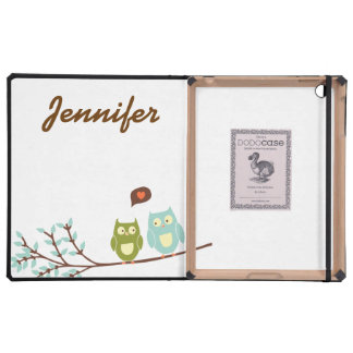Cute Girly, Green and Blue Owls with Your Name Covers For iPad