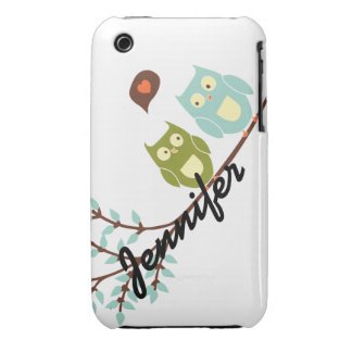 Cute Girly, Green and Blue Owls with Your Name iPhone 3 Cover