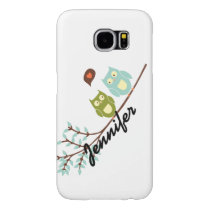 Cute Girly, Green and Blue Owls with Your Name Samsung Galaxy S6 Case
