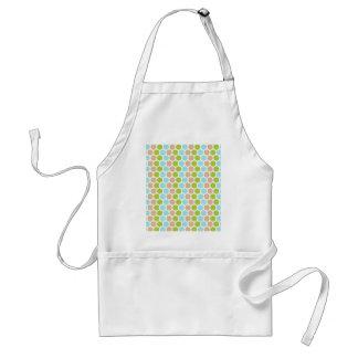Cute Girly Green Blue Tan Polka Dots Pattern Adult Apron