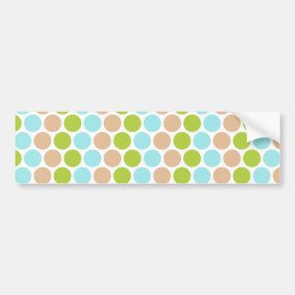 Cute Girly Green Blue Tan Polka Dots Pattern Bumper Stickers