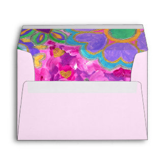 Cute Girly Heart-Shaped Valentine Floral Painting Envelope