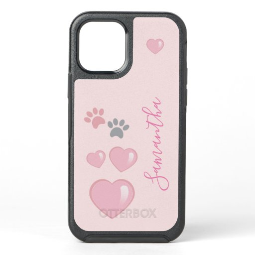 Cute Girly Hearts and Paws OtterBox Symmetry iPhone 12 Case