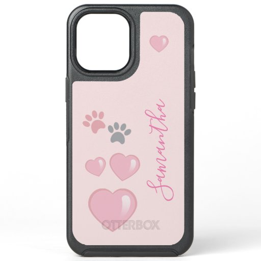 Cute Girly Hearts and Paws OtterBox Symmetry iPhone 12 Pro Max Case