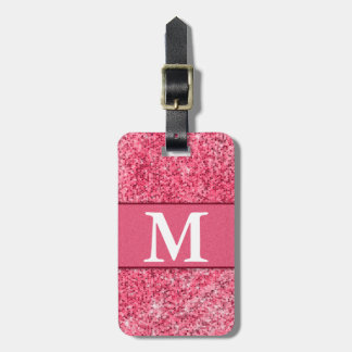 Cute Girly Hot Pink Red Glitter Monogram Contact Bag Tag