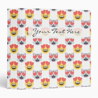 Cute Girly In Love Hearts Cat Emoji Pattern Binder