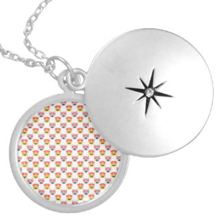 Cute Girly In Love Hearts Cat Emoji Pattern Silver Plated Necklace