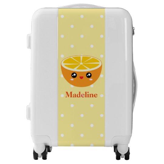b36ecb624249 Cute Girly Kawaii Happy Sweet Orange Cartoon Luggage | Zazzle.com