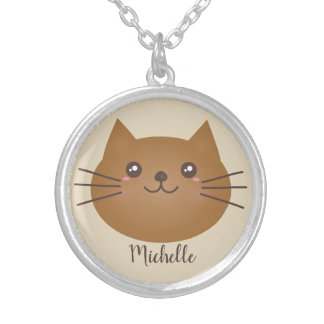 Cute Girly Kawaii Kitty Cat Lover Whimsical Silver Plated Necklace