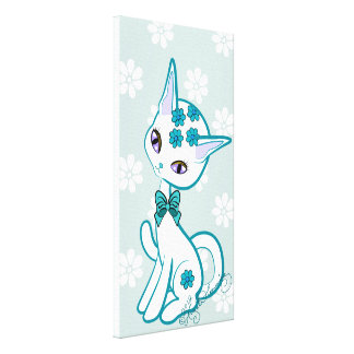 Cute girly Kitty Blue With Daisies Canvas Print