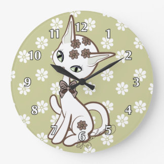 Cute girly Kitty Cat Antique Gold~ Large Clock
