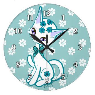 Cute girly Kitty Cat Aqua  Blue~ Wall Clock