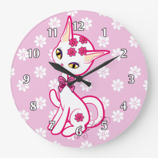 Cute girly Kitty Cat Pink ~ Large Clock