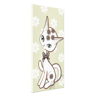 Cute girly Kitty Gold With Daisies Canvas Print