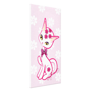 Cute girly Kitty Pink With Daisies Canvas Print