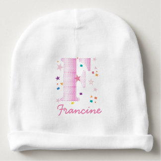 Cute Girly Letter F Monogrammed Baby Baby Beanie