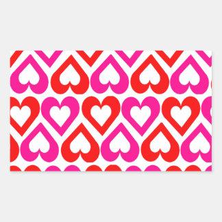 Cute Girly Love Hearts Rectangular Sticker