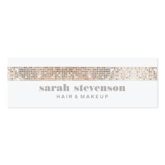Cute Girly & Modern Sparkly Silver FAUX Sequins Mini Business Card