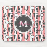 Cute girly  monogram cosmetics stripes pattern mouse pad