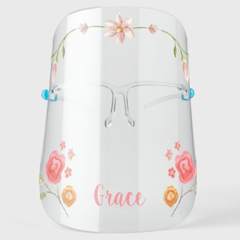 Cute Girly Monogram Flower Face Shield