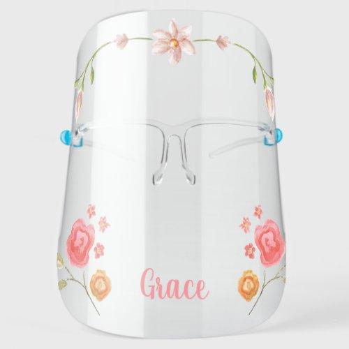 Cute Girly Monogram Flower Face Shield