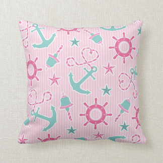 Cute Girly Nautical Print Pink Stripe Pillow