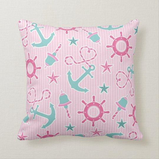 Cute Girly Nautical Print Pink Stripe Throw Pillow