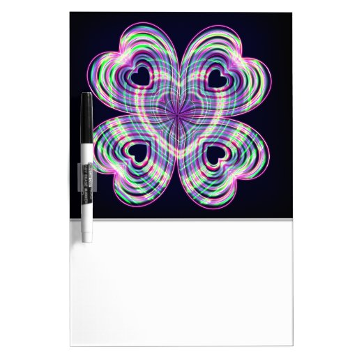 Cute Girly Neon Lighted Heart Design Dry Erase Boards