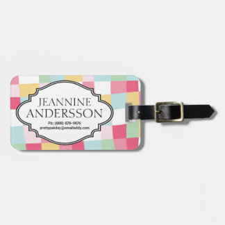 Cute Girly Pastel Checkerboard Personalized Tag Luggage Tag