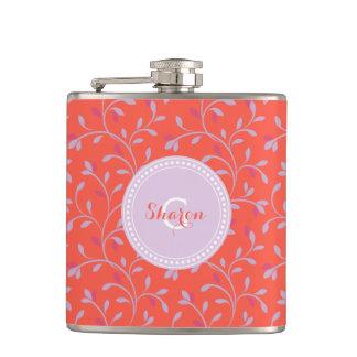 Cute girly pastel purple floral pattern monogram hip flasks