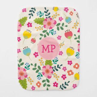 Cute Girly Pastel Spring Flower Pattern + Monogram Baby Burp Cloth