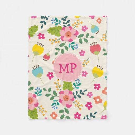Cute Girly Pastel Spring Flower Pattern + Monogram Fleece Blanket