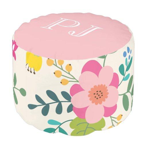 Cute Girly Pastel Spring Flower Pattern Monogram Pouf