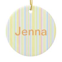 Cute Girly Pastel Vertical Stripe Pattern Ceramic Ornament