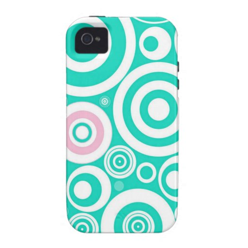 Cute Girly Pattern Mint Pink Circles Polka Dots iPhone 4 Cases