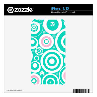 Cute Girly Pattern Mint Pink Circles Polka Dots Decals For iPhone 4