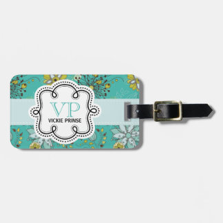 Cute Girly  Personalized Flowery Pattern Doodle Luggage Tag