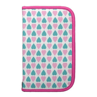 Cute Girly Pink And Blue Hearts Pattern Planner