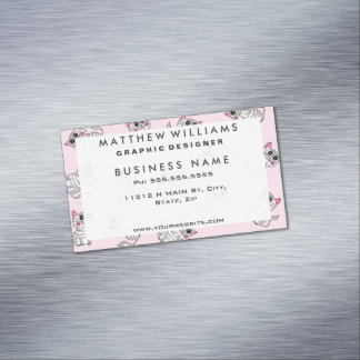 Cute Girly Pink and Gray Striped Kitty Cats Business Card Magnet