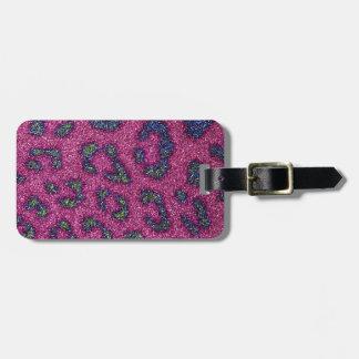 Cute Girly Pink and mulitcolored glitter Cheetah Bag Tag
