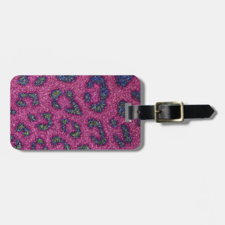 Cute Girly Pink and mulitcolored glitter Cheetah Tags For Bags