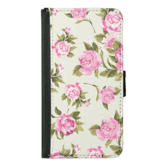 Cute Girly Pink and Purple Provencal Roses Wallet Phone Case For Samsung Galaxy S5