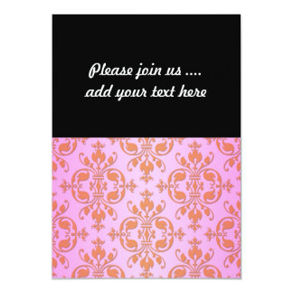 Cute Girly Pink and Yellow Damask Card