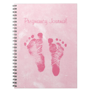 Cute Girly Pink Baby Footprints Pregnancy Journal Note Books