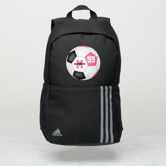 cute girly pink black soccer ball personalized adidas backpack